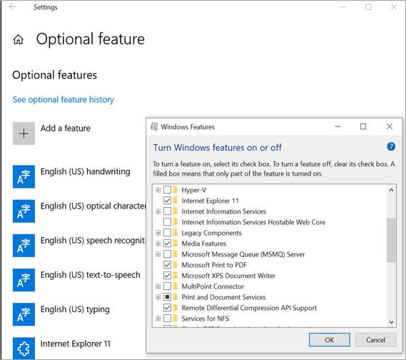Window 10 Optional Feature Dialog Box