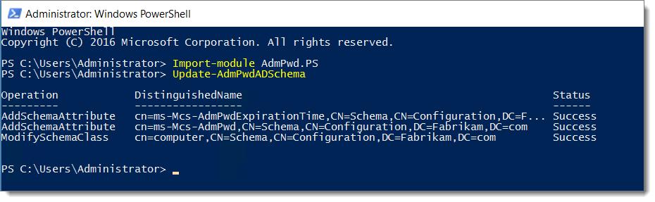 Administrator Windows PowerShell Update Admin Password Schema