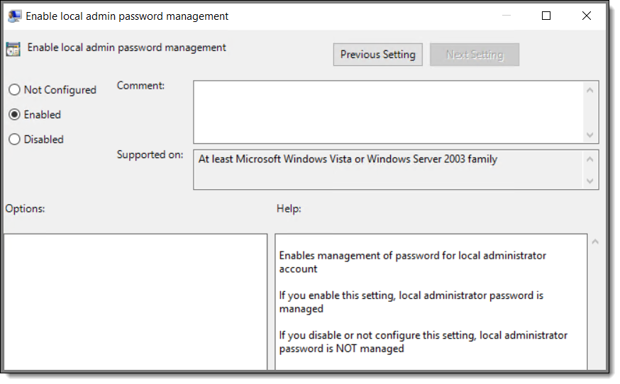Enable Local Admin Password Management Group Policy