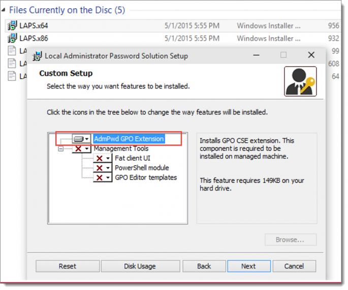 Custom Setup for Local Administrator Password Solution