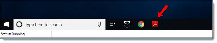 Pin adobe reader to the taskbar