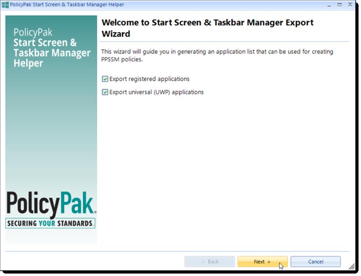 Taskbar Manager Export Wizard