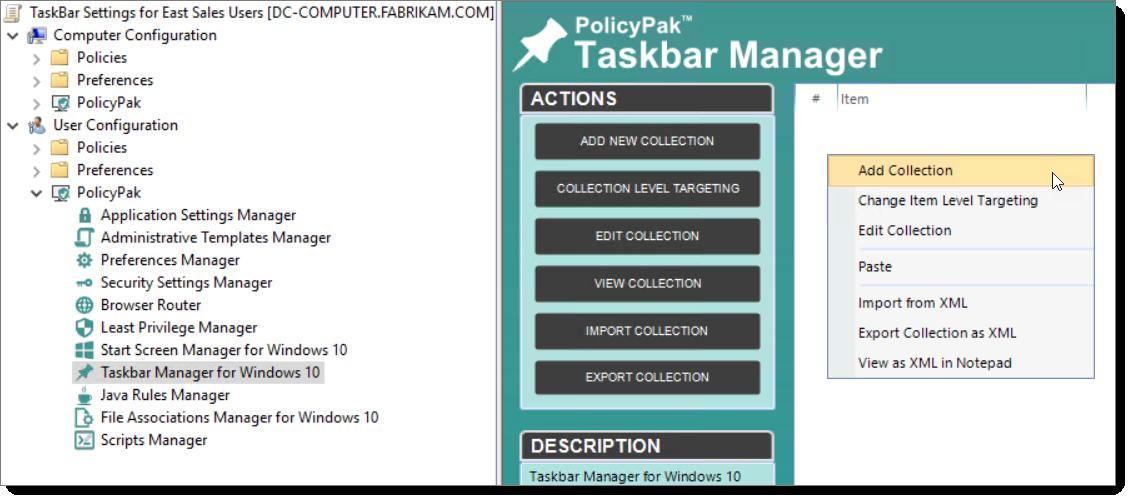 Policypak taskbar manager GPMC