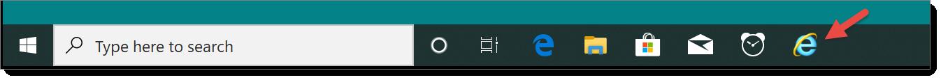 Pin internet explorer to taskbar