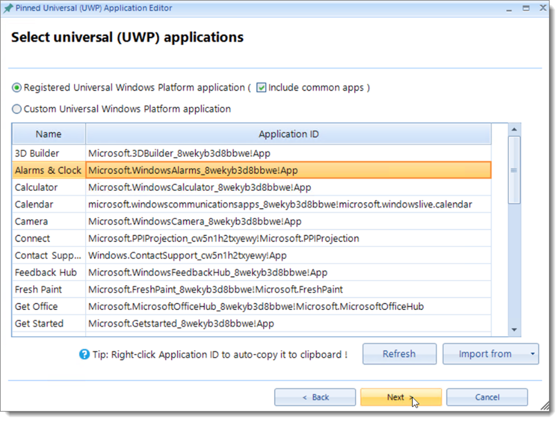 Selecting UWP Application