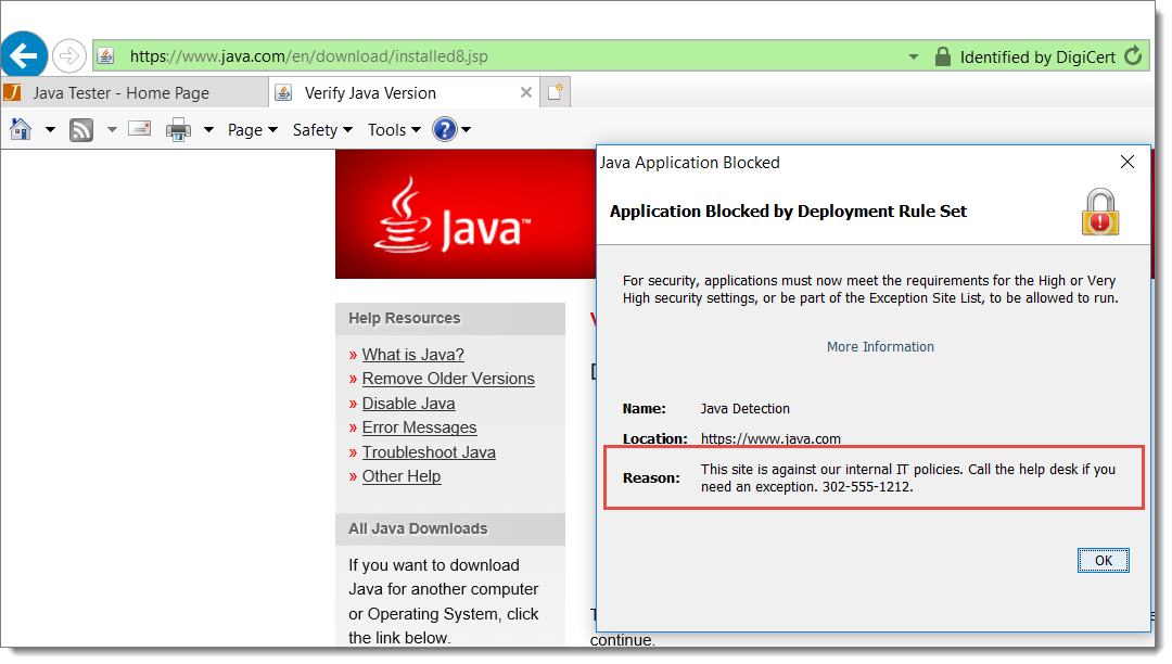 Reason to Block Java