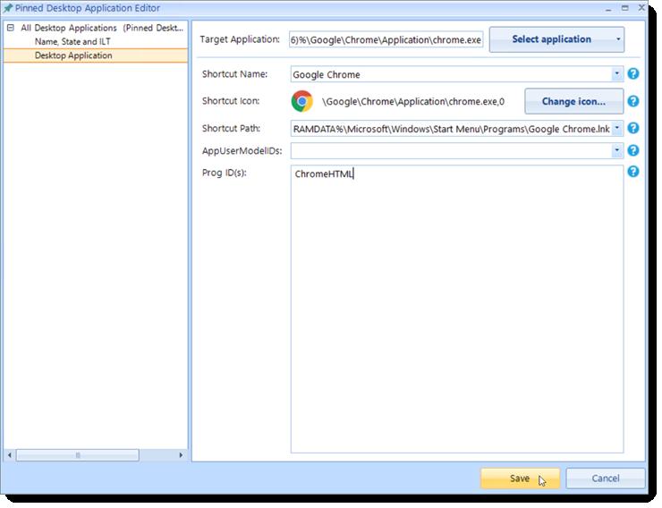 Pinned desktop application editor