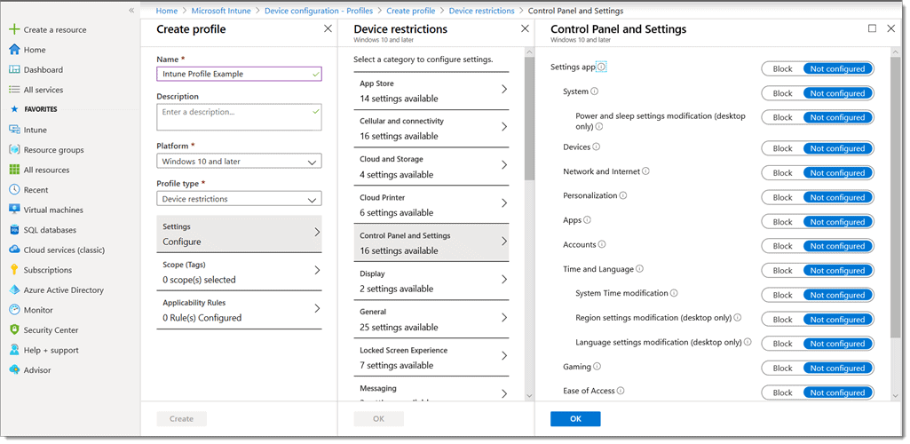 list of available windows csp settings to configure in Microsoft Intune