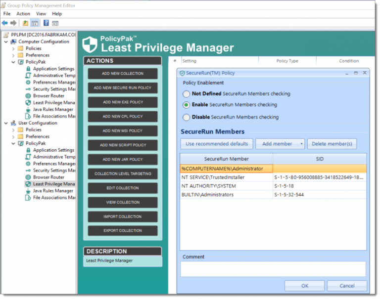 Enable Secure Run Policy in PolicyPak Least Privilege Manager