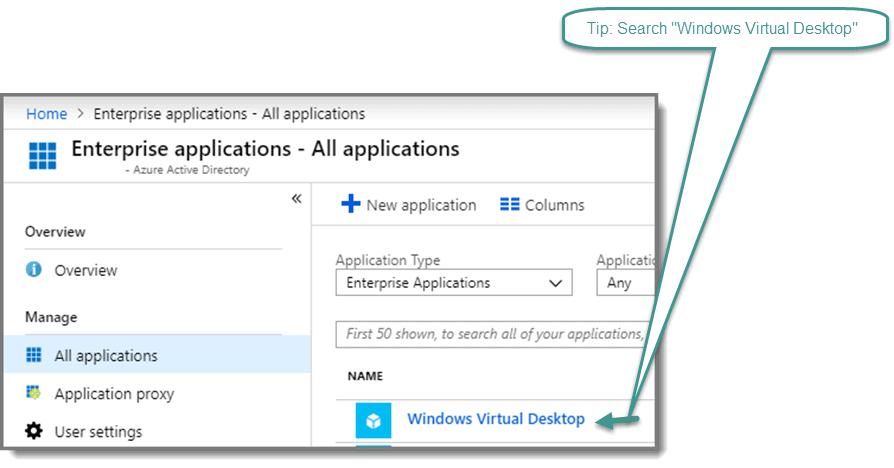Search for Windows Virtual Desktop