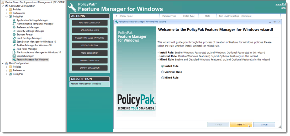 Feature Manager for Windows Home Screen