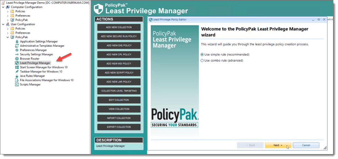 Least Privilege Manager Policy Wizard