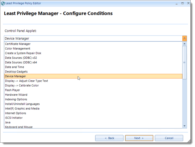 Least Privilege Manager Configure Conditions