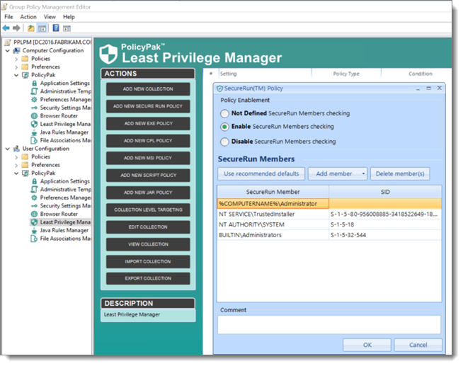 Least Privilege Manager Secure Run Policy for Device Guard
