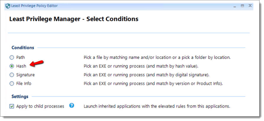 Least Privilege Manager Select Conditions