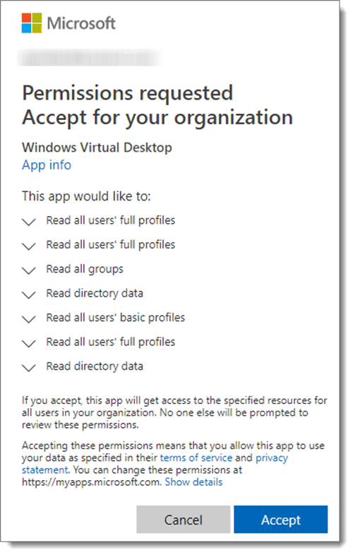 Azure Permissions requested accept for your organization