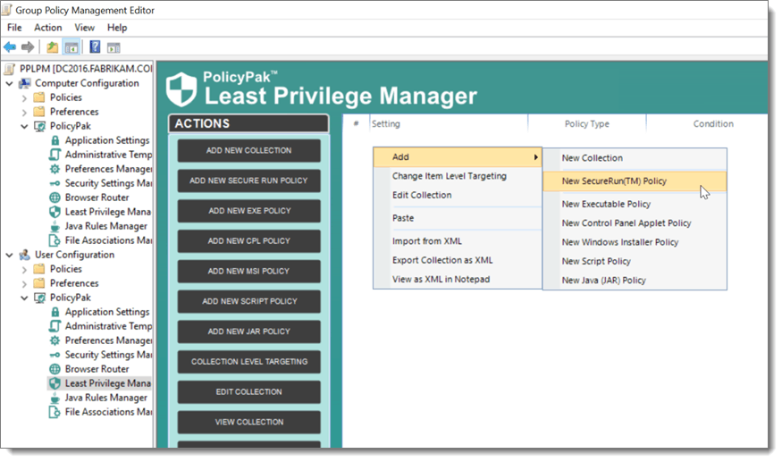 PolicyPak Least Privilege Manager Flyout