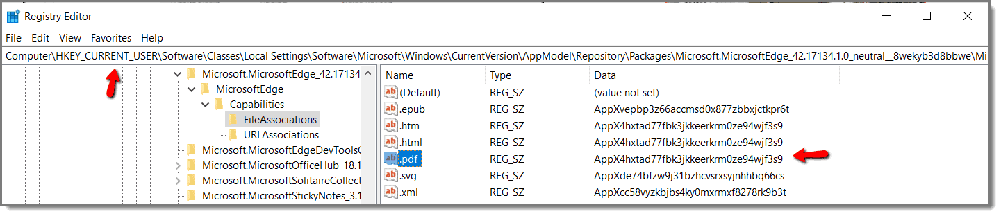 Registry Editor for PDF Files in Windows 10