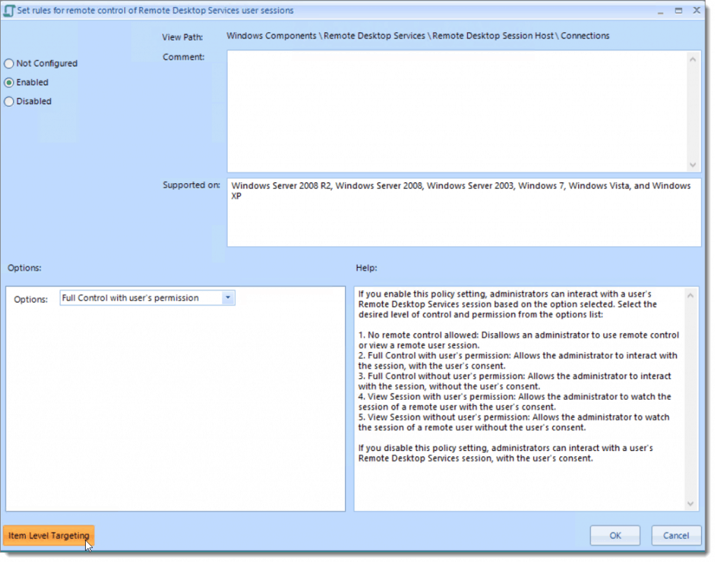 Example of creating a policy fore remote control of remote desktops