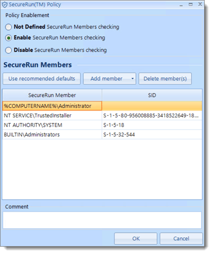Secure Run Policy Create Page