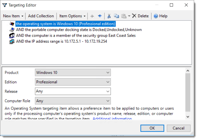Example of Group Policy Targeting Editor and How to apply target objects