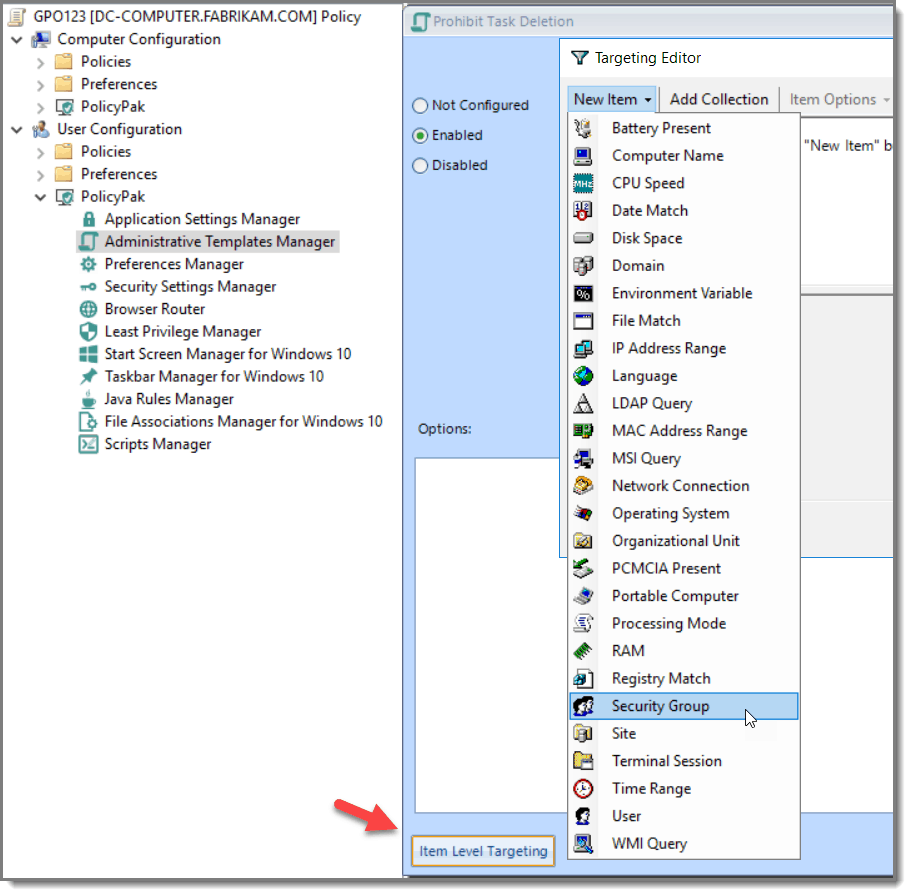 Group Policy Item Level Targeting ADMX