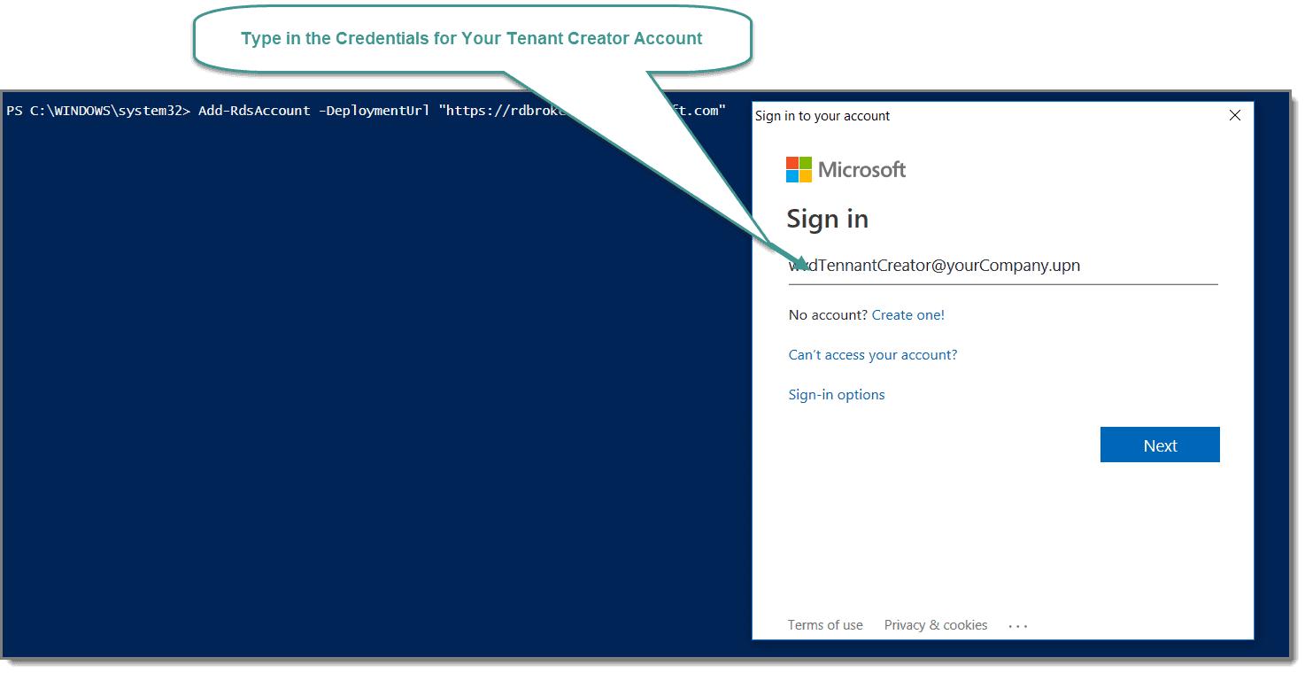 Type in Azure tenant credentials