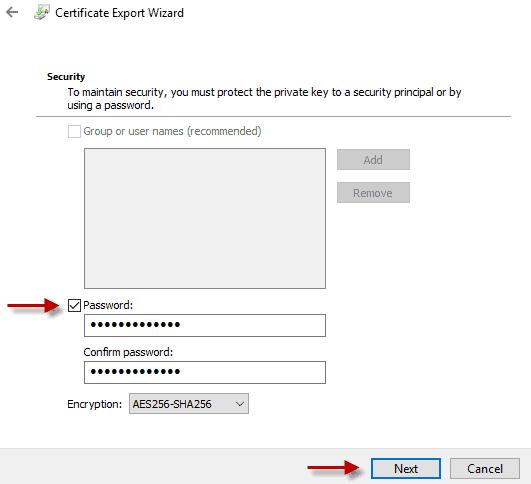 Provide password