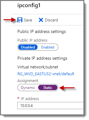 Change dynamic to static IP address