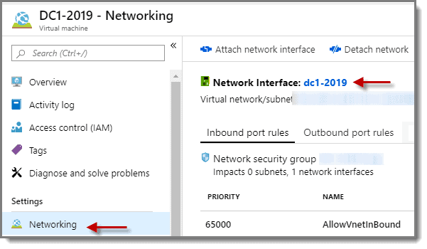 Network interface selection