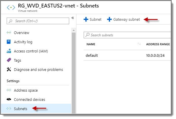 Select subnets