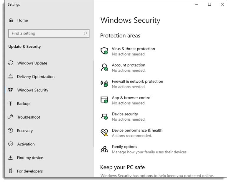 Windows Protection Areas Screenshot