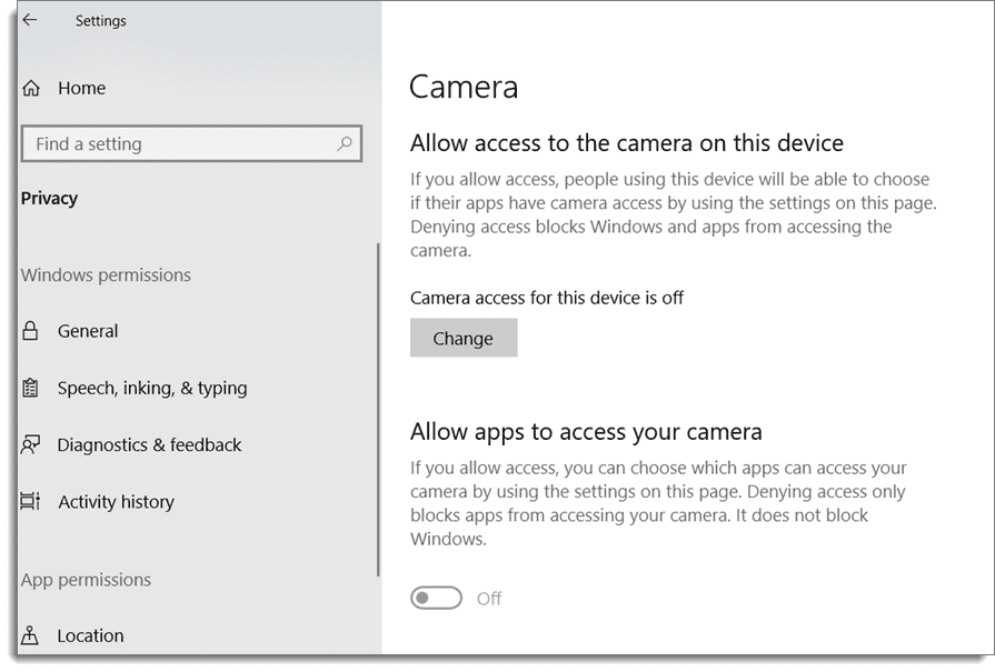 Windows Security Setting for setting privacy