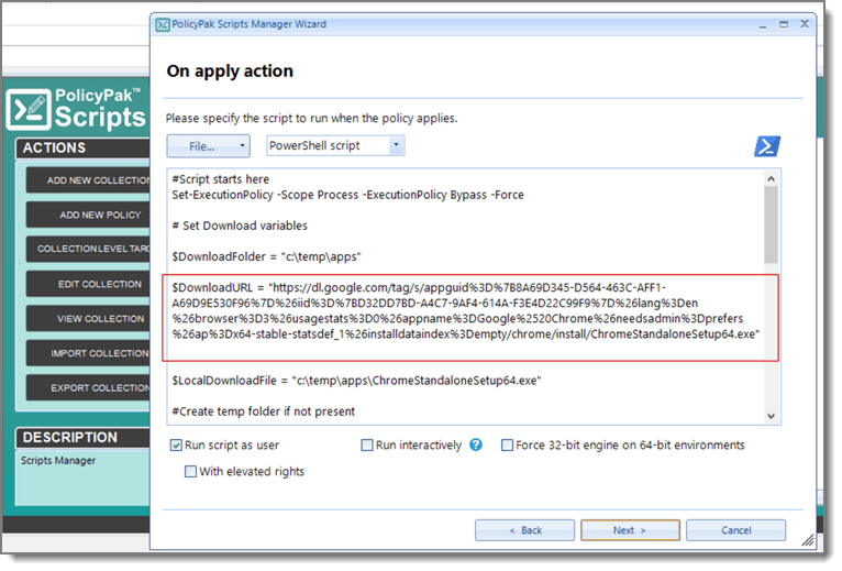 n Apply Action Software Deployment