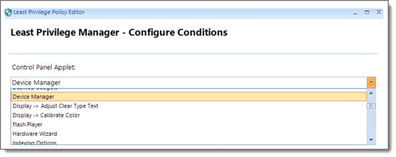 LPM Configure Conditions