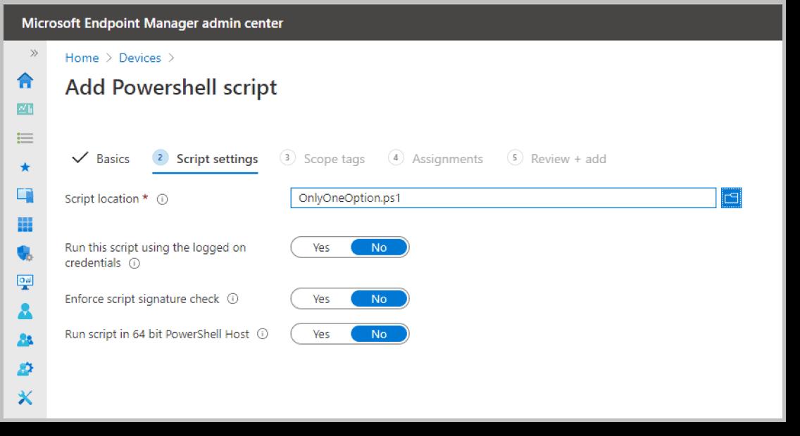 Add powershell script microsoft intune
