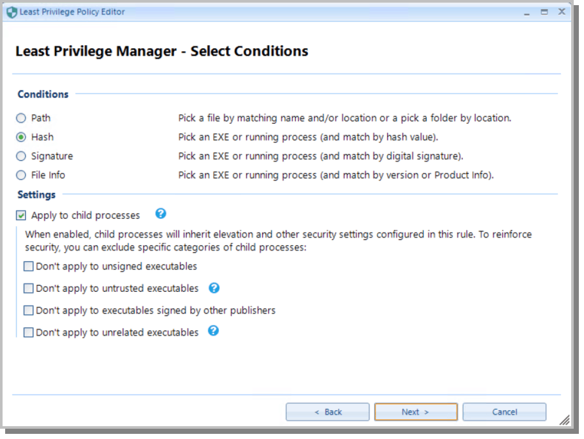 Select Conditions for Least Privilege Manager