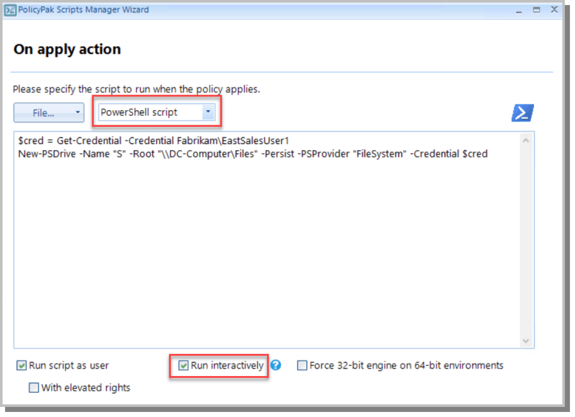 apply action intune powershell script