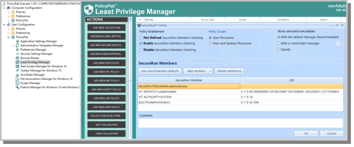 least privilege manager feature selection