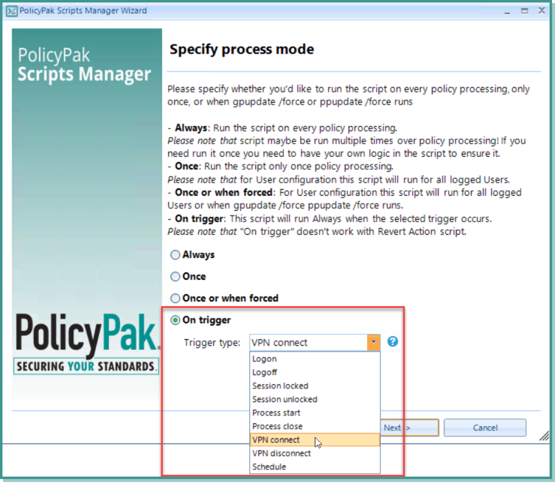 vpn connect specify process mode