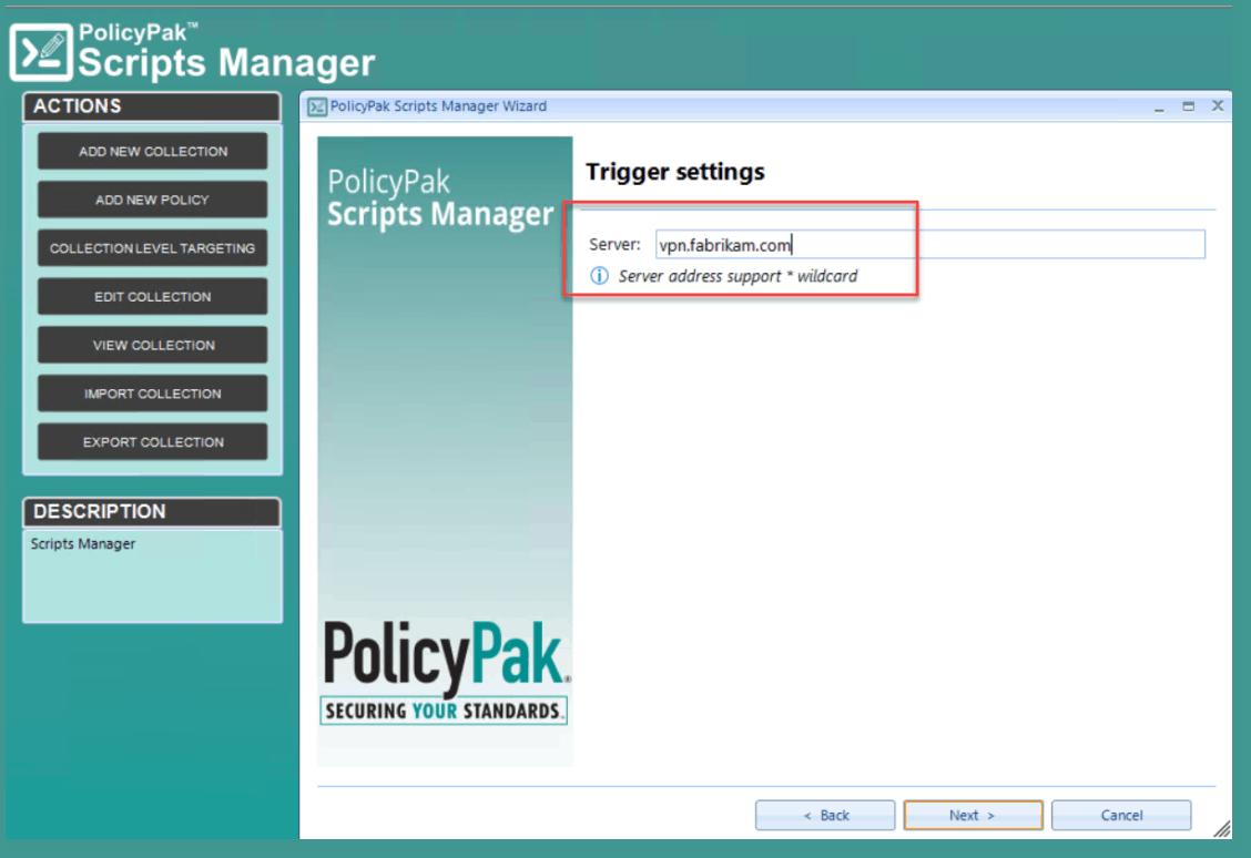 trigger settings for the VPN script