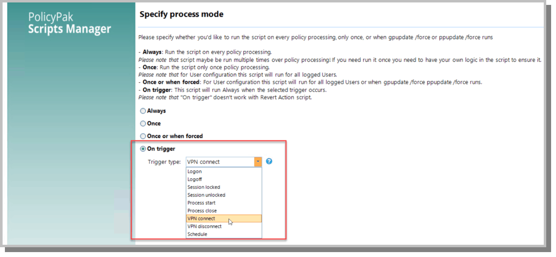 specify process mode on trigger