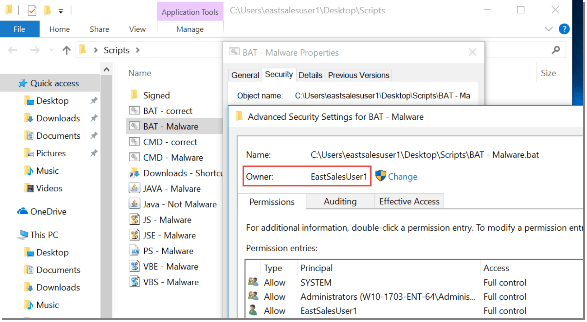 Advanced Security Settings for BAT