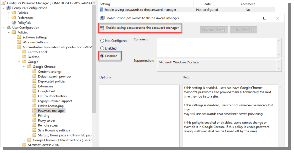 Enable saving passwors to the password manager