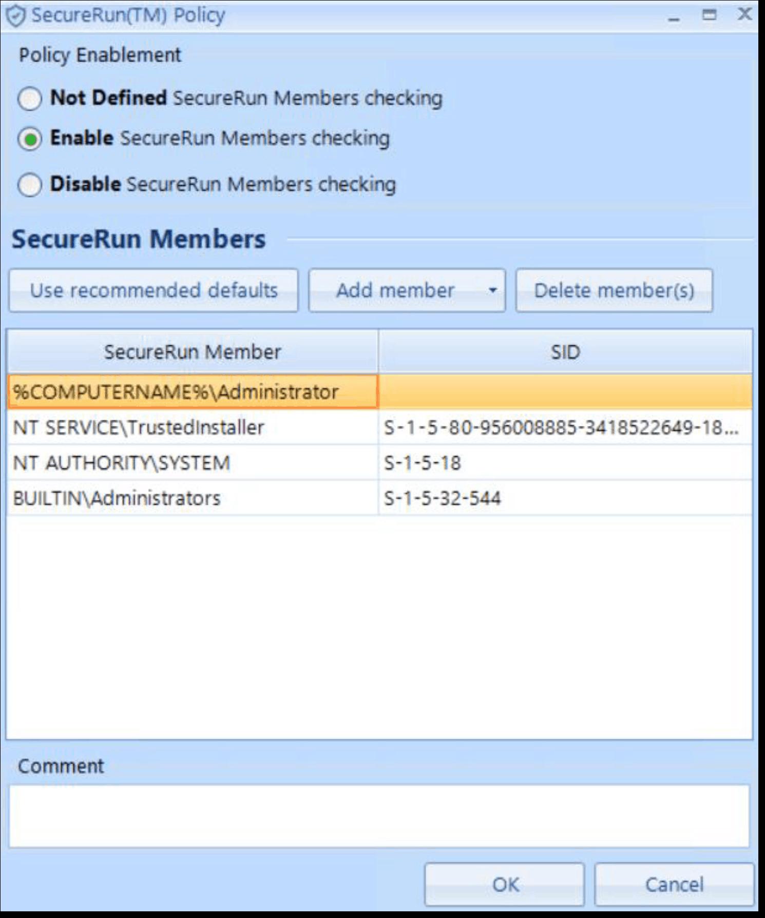 SecureRun Policy