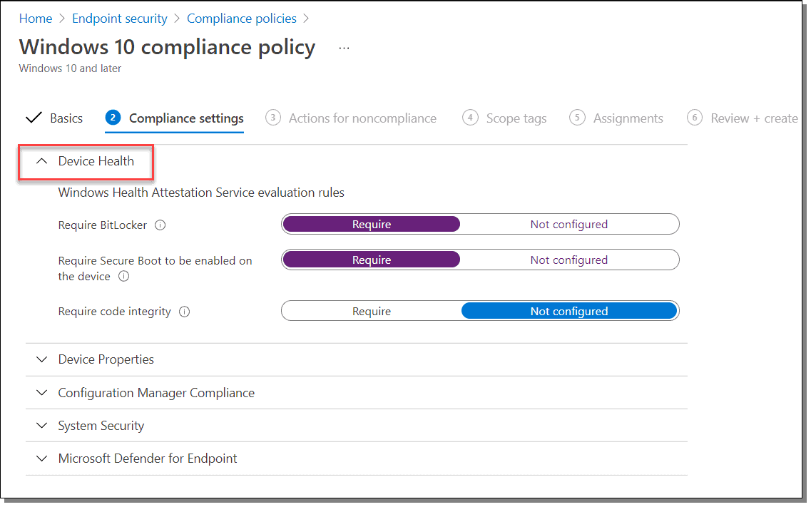 windows 10 compliance policy actions for noncompliance