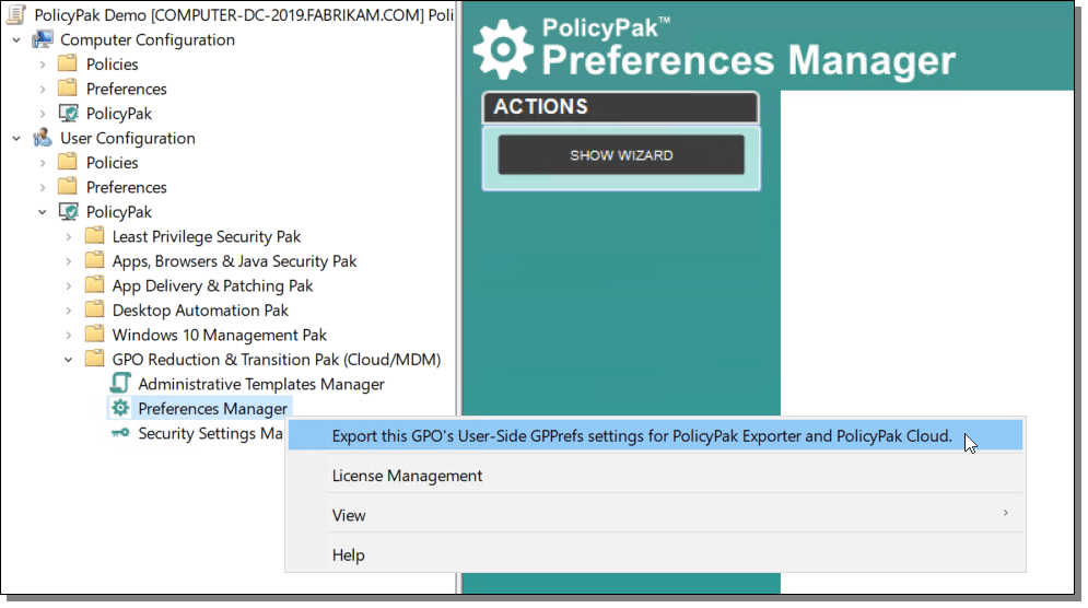 PolicyPak Preferences Manager