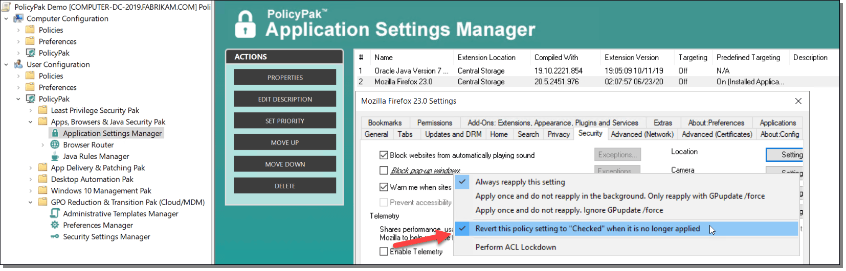 PolicyPak Application Settings Manager Configuration Table