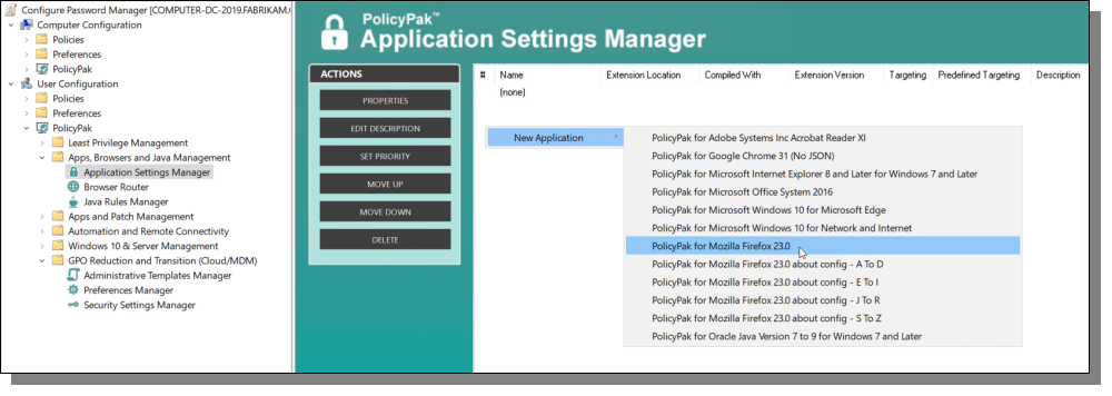 Application Settings Manager New Application