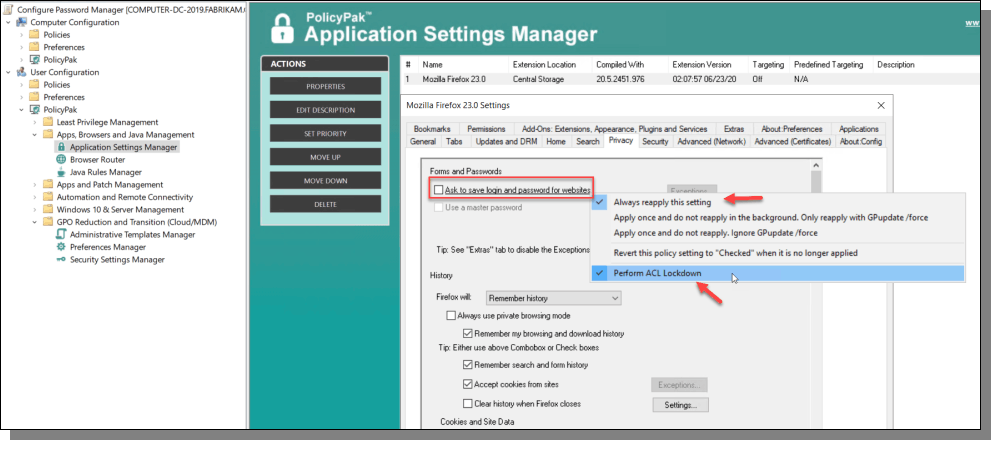 Application Settings Manager Forms and Passwords
